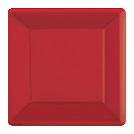 Röda 20x fyrkantiga partytallrikar