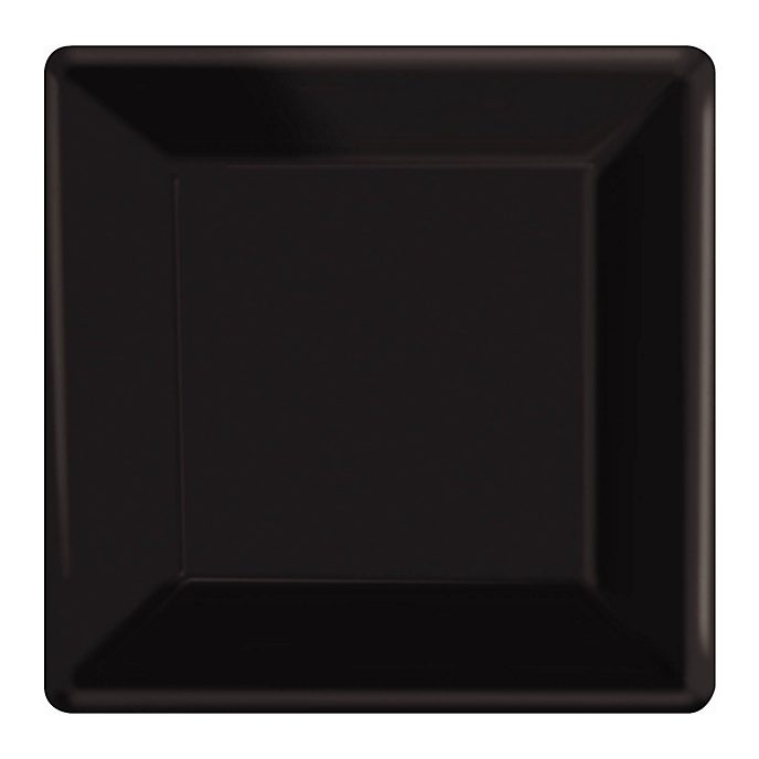 Black 20x Square Party Plates Set