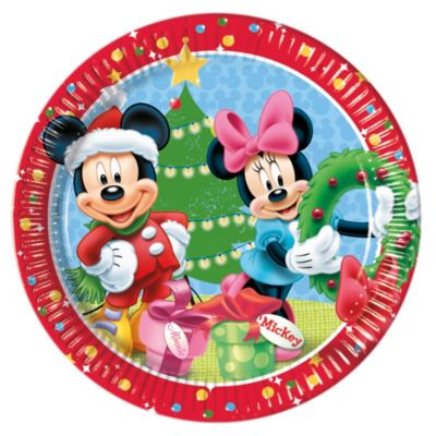 8 assiettes de fête de Noël Mickey et Minnie