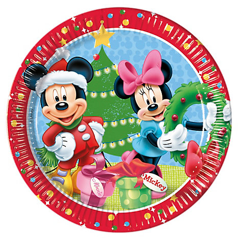 Mickey and Minnie 8x Christmas Party Plates