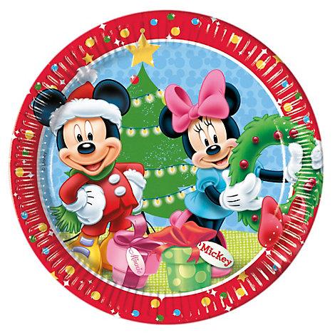 Topolino e Minni, 8 piatti di carta natalizi