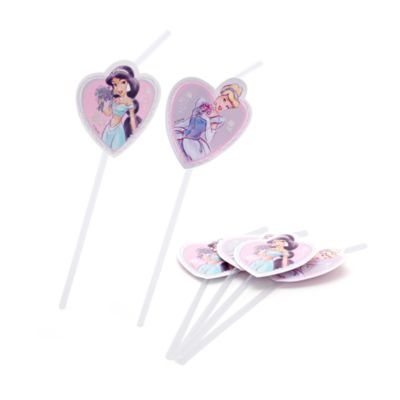 Lot de 6pailles flexibles Princesses Disney