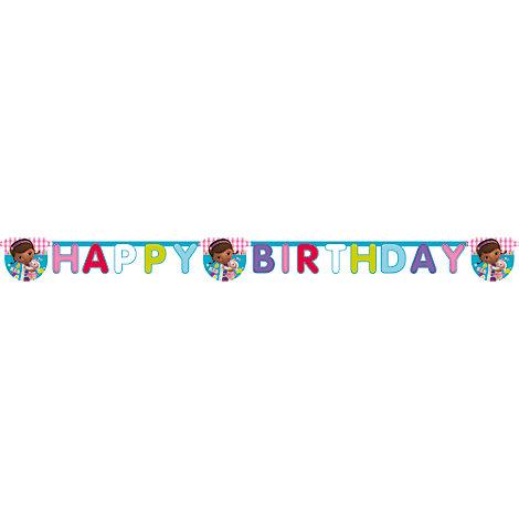 Cartel feliz cumpleaños de Doctora Juguetes