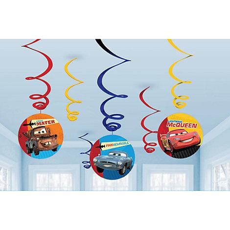 Lot de 6 décorations de fête tourbillonnantes Disney Pixar Cars