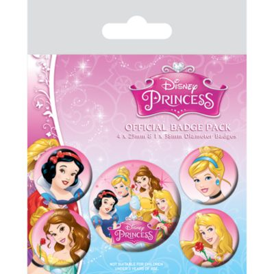 Disney Princess Badges, Pack of 5
