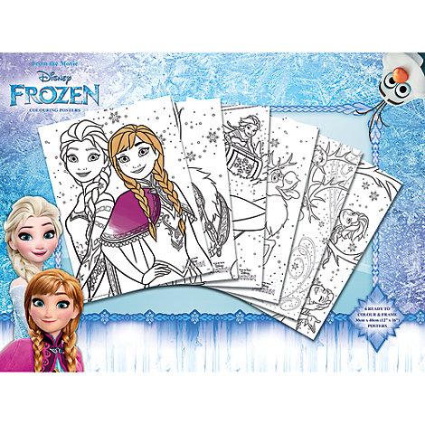 Ensemble de 6 posters à colorier La Reine des Neiges