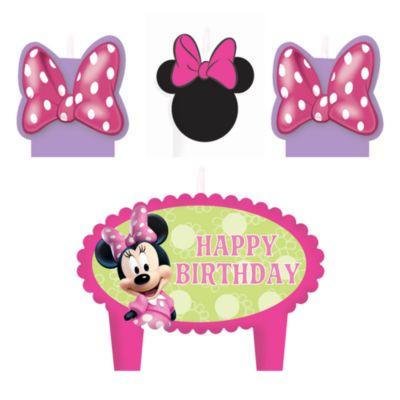 Minnie Maus - 4 x Geburtstagskerzen