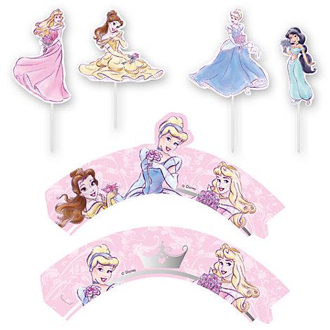 Disney Prinsessor set med muffinsomslag och toppdekoration
