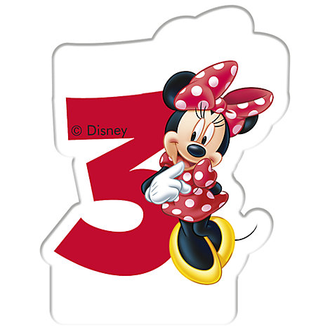 Minnie Mouse Birthday Candle, Age 3