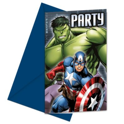 Ensemble de 6 invitations de fête Avengers Rassemblement de Marvel