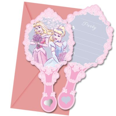Disney Prinzessin - 6 x Partyeinladungen