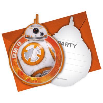 Ensemble de 6 invitations de fête BB-8, Star Wars: Le Réveil de la Force