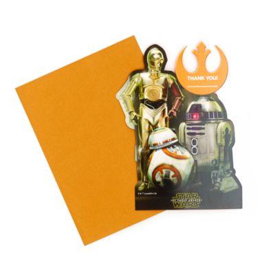 Ensemble de 6 cartes de remerciement Droïdes, Star Wars : Le Réveil de la Force