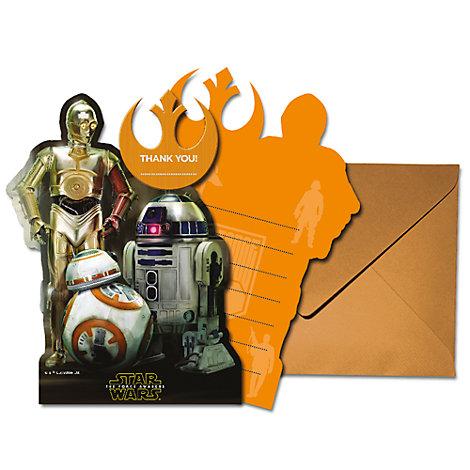 Tarjetas agradecimiento droides Star Wars VII: El despertar de la Fuerza (6 u)