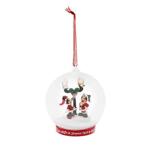 Mickey and Minnie Light-Up Glass Christmas Decoration, Disneyland Paris