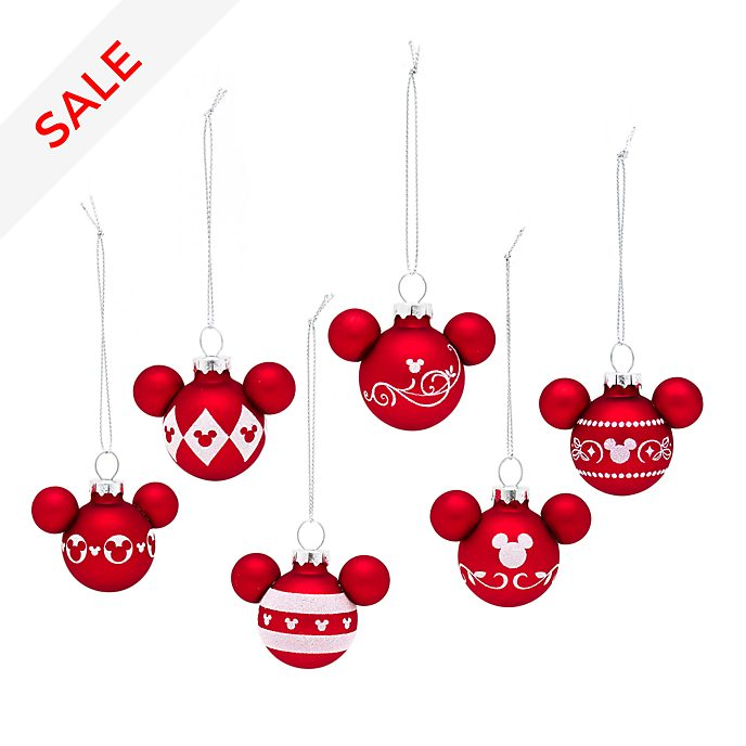 Disney Weihnachtskugeln.Mickey Mouse Hanging Baubles Set Of 6