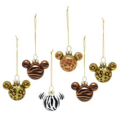 Set de 6 bolas de Navidad de siluetas de Mickey con estampados de animales