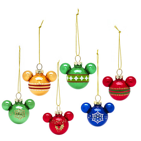 Mickey Silhouette Rainbow Baubles, Set of 6