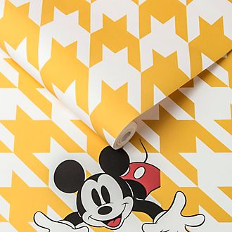 Kelly Hoppen papel pintado Mickey Mouse pata de gallo amarillo