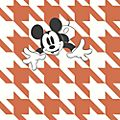 Kelly Hoppen Papier peint Mickey Mouse pied-de-poule orange