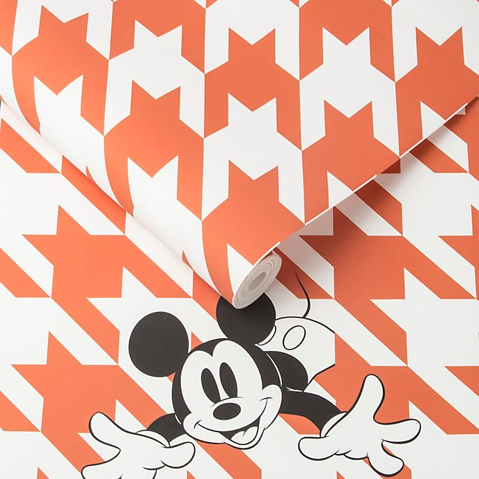 Kelly Hoppen - Micky Maus - Tapete mit Hahnentrittmuster in Orange
