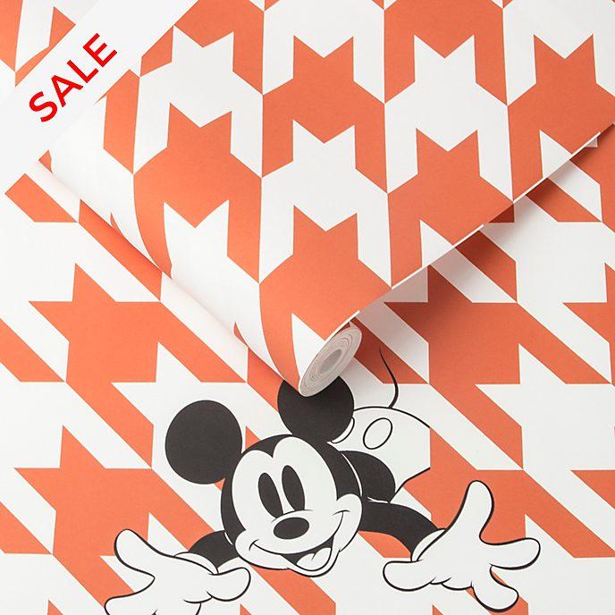 Kelly Hoppen Mickey Mouse Orange Houndstooth Wallpaper