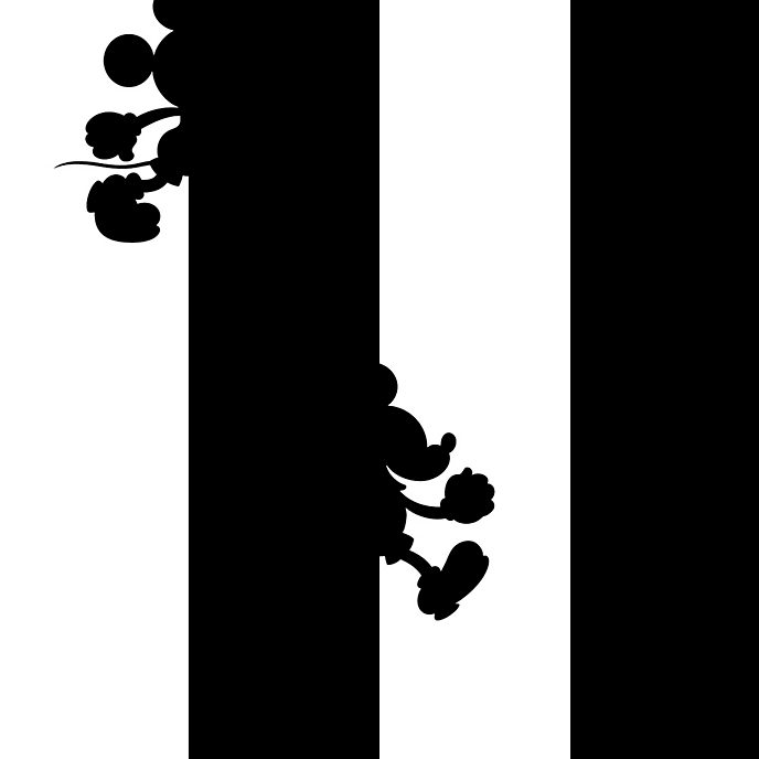 Kelly Hoppen papel pintado Mickey Mouse andando por la pared blanco y negro