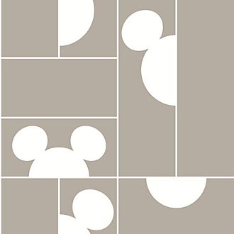 Kelly Hoppen Mickey Mouse Taupe Mosaic Wallpaper
