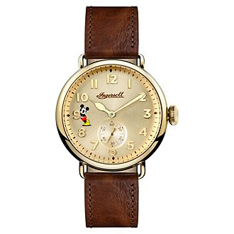 Ingersoll - Micky Maus - Armbanduhr mit braunem Lederarmband