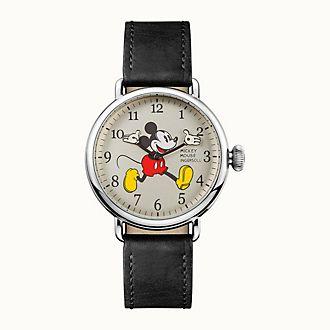 Ingersoll - Micky Maus - Armbanduhr mit schwarzem Lederarmband