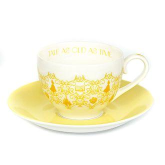 Platito y taza de té porcelana ceniza hueso Bella, English Ladies Co.