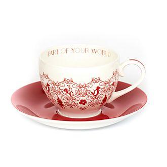 Platito y taza de té porcelana ceniza hueso Ariel, English Ladies Co.