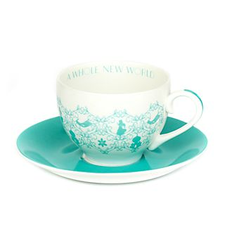 Platito y taza de té porcelana ceniza hueso Jasmine, English Ladies Co.
