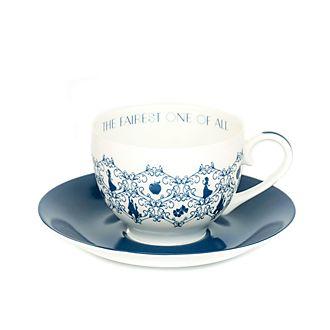 Platito y taza de té porcelana ceniza hueso Blancanieves, English Ladies Co.