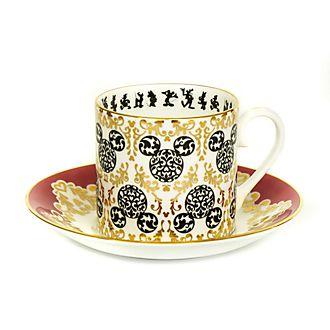 Set taza té y platito porcelana ceniza hueso Mickey moderno, English Ladies Co.