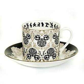 Taza té y platito porcelana ceniza hueso Mickey vintage, English Ladies Co.