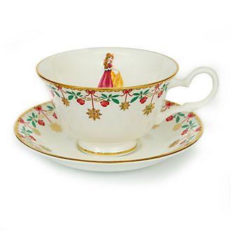 Taza té y platito porcelana ceniza hueso Bella, Invierno, English Ladies Co.
