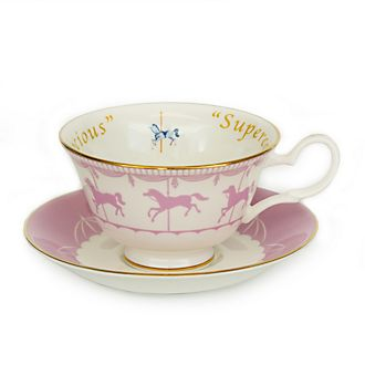 Taza de té y platito porcelana ceniza hueso tiovivo Mary Poppins, English Ladies Co.
