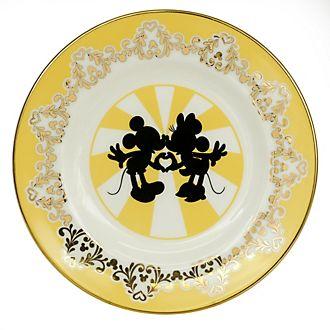 Plato porcelana ceniza hueso Mickey y Minnie moderno, English Ladies Co.