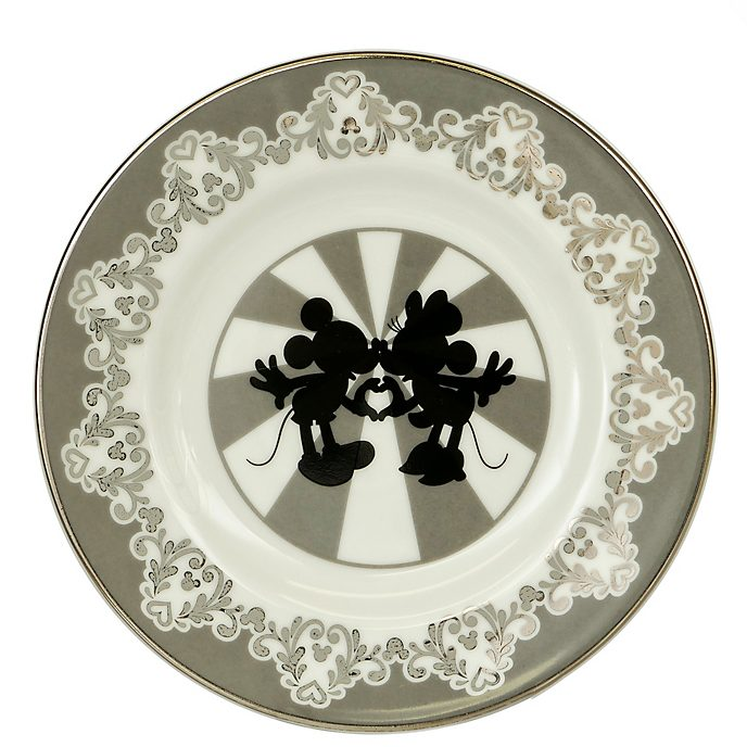Plato porcelana ceniza hueso Mickey y Minnie vintage, English Ladies Co.