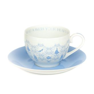 Platito y taza de té porcelana ceniza hueso Cenicienta, English Ladies Co.