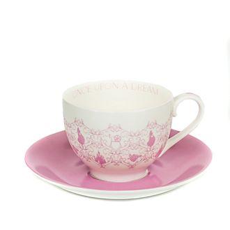 Platito y taza de té porcelana ceniza hueso Aurora, English Ladies Co.