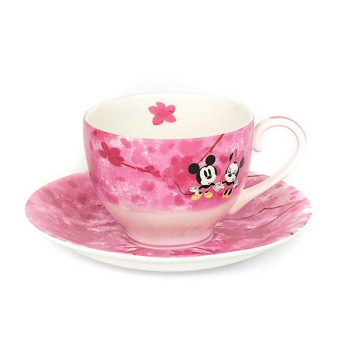 Personaggio in rilievo in porcellana Tazza da tè e piattino in porcellana fine Topolino Minni e la primavera