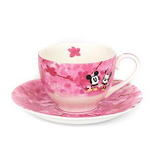 English Ladies Co. Taza de té y platillo porcelana fina primavera Mickey y Minnie