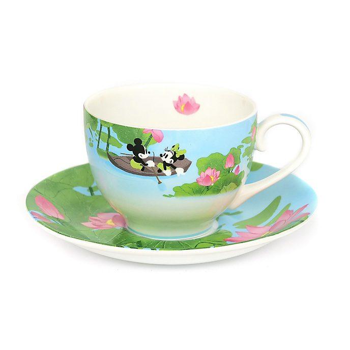 Personaggio in rilievo in porcellana Tazza da tè e piattino in porcellana fine Topolino Minni e l'estate
