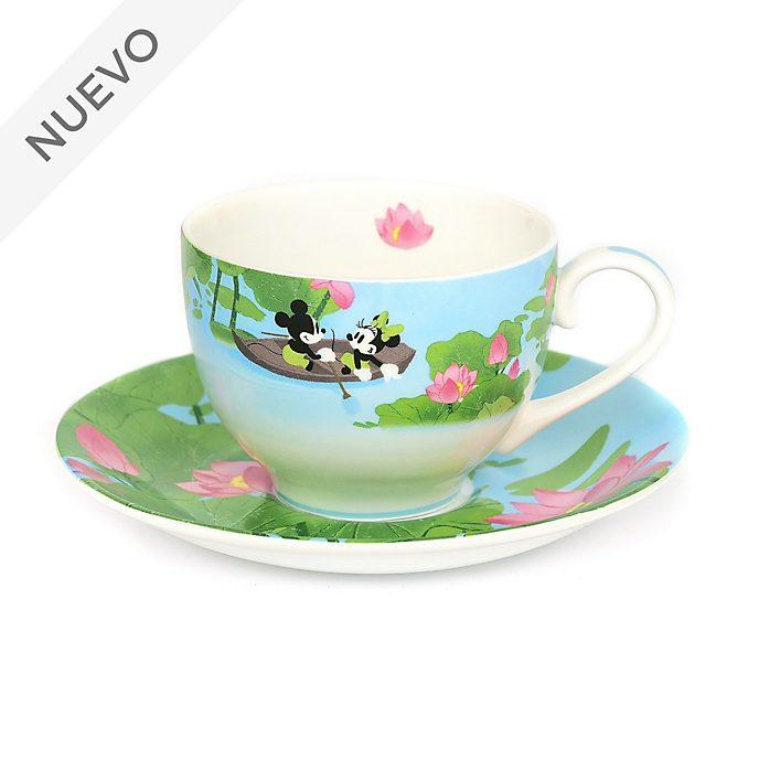 English Ladies Co. Taza de té y platillo porcelana fina verano Mickey y Minnie