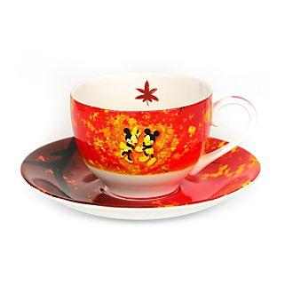 English Ladies Co. Tasse et soucoupe Mickey et Minnie en porcelaine fine avec motif automne