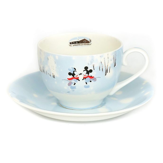 English Ladies Co. Mickey and Minnie Winter Fine China Teacup and Saucer