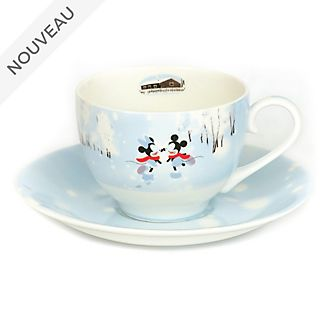 English Ladies Co. Tasse et soucoupe Mickey et Minnie en porcelaine fine avec motif hiver