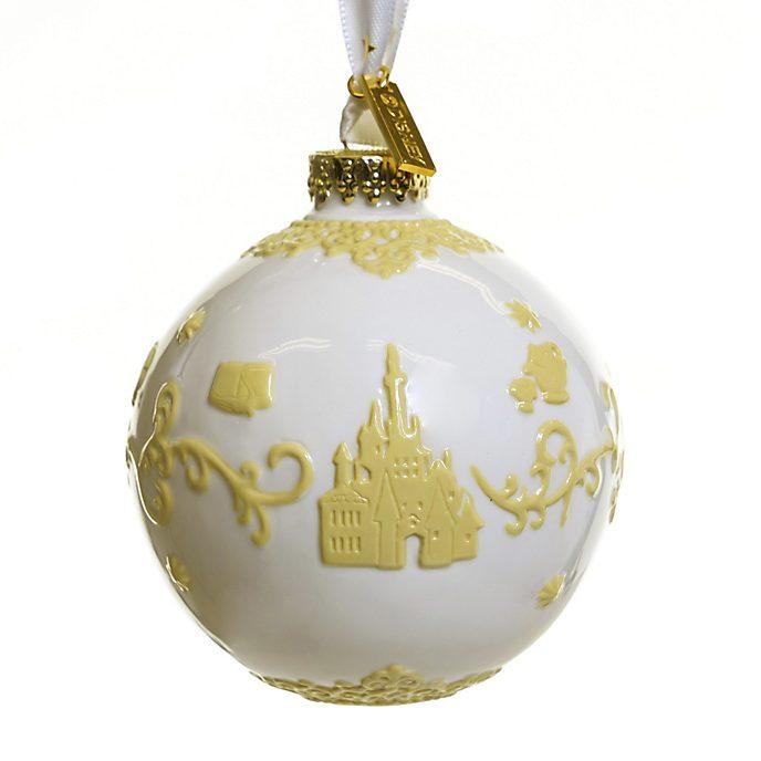 English Ladies Co. - Die Schöne und das Biest - Dekorationsstück aus hochwertigstem weißen Porzellan zum Aufhängen